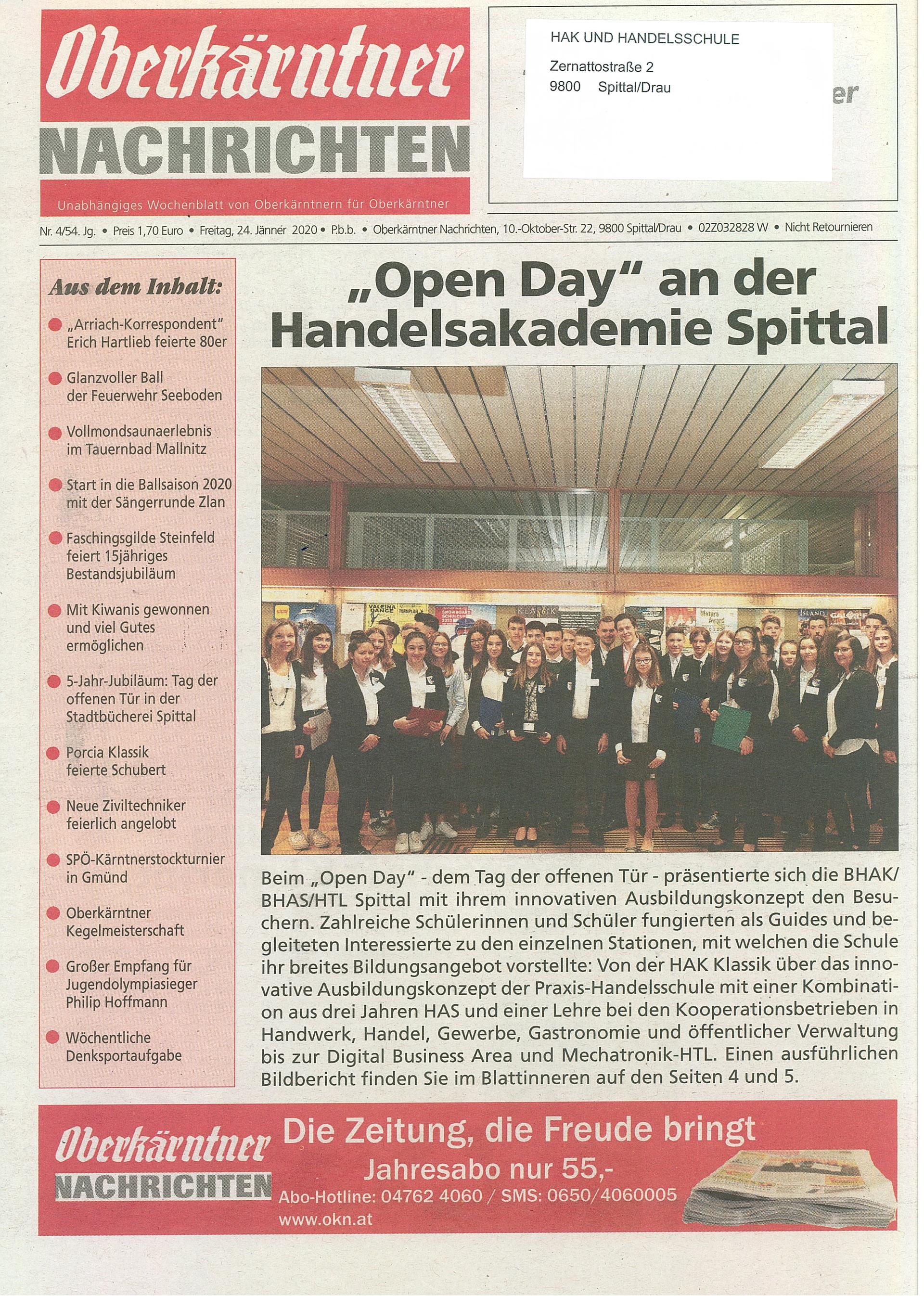 Open Day an der Handelsakademie Spittal